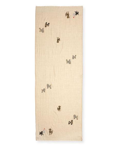 Embellished Poodles Cashmere Scarf