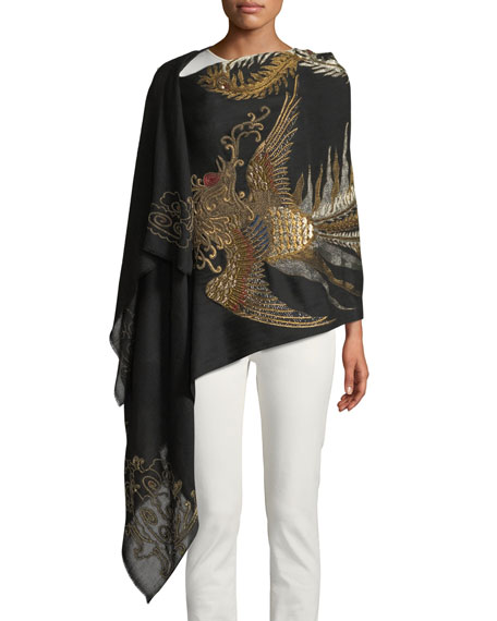 Phoenix Embroidered Cashmere Scarf