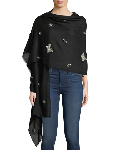 Pearlescent Butterfly Cashmere Scarf