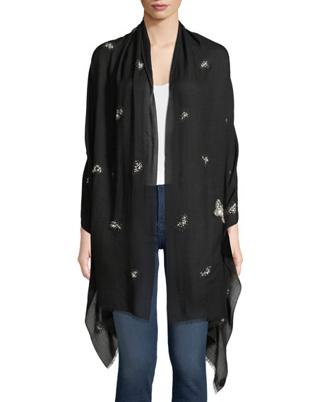 K. JANAVI Pearlescent Butterfly Cashmere Scarf in Black