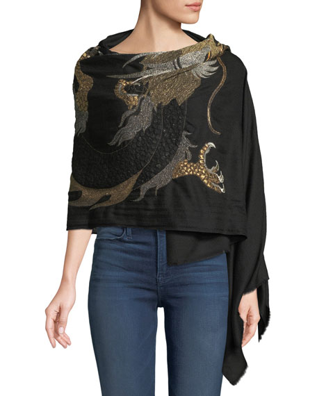 Dragon Embroidered Cashmere Scarf