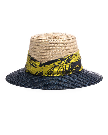 Stevie Printed Satin-Trimmed Straw Sunhat, White/Blue