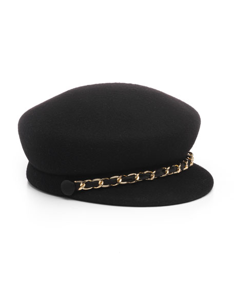 Sabrina Wool Newsboy Hat w/ Golden Curb Chain Detail