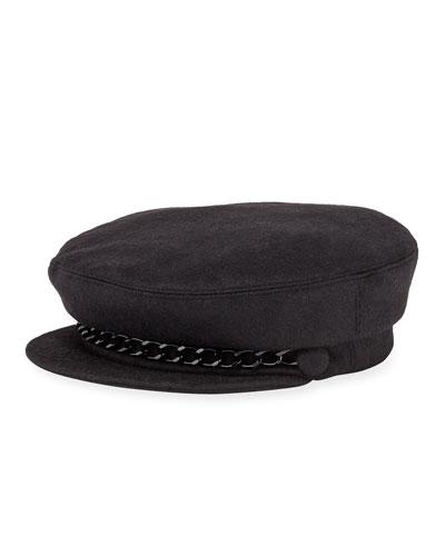 Marina Cashmere Newsboy Hat with Chain Detail