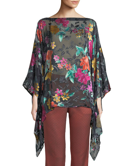 Etro Devore Satin Applique Poncho