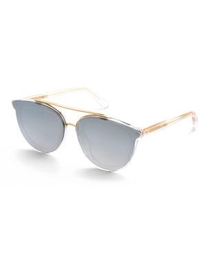 1141accbdc1 KREWE Clio Oval Acetate Sunglasses w  Nylon Overlay Lenses