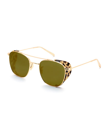 Earhart Blinker Metal Aviator Sunglasses w/ Side Blinders