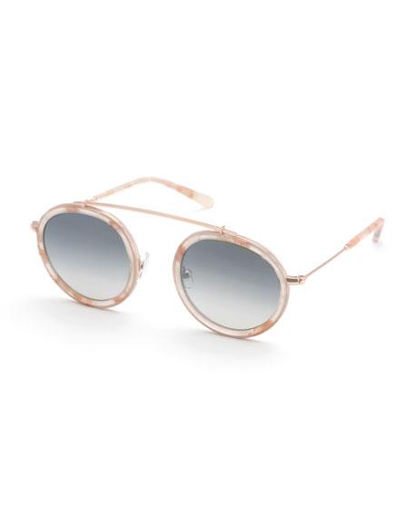 KREWE Conti Round Mirrored Sunglasses
