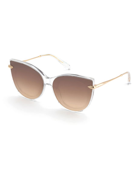 KREWE Laveau Cat-Eye Acetate & Metal Mirrored Sunglasses