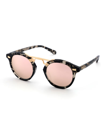 KREWE STL II Round Mirrored Sunglasses