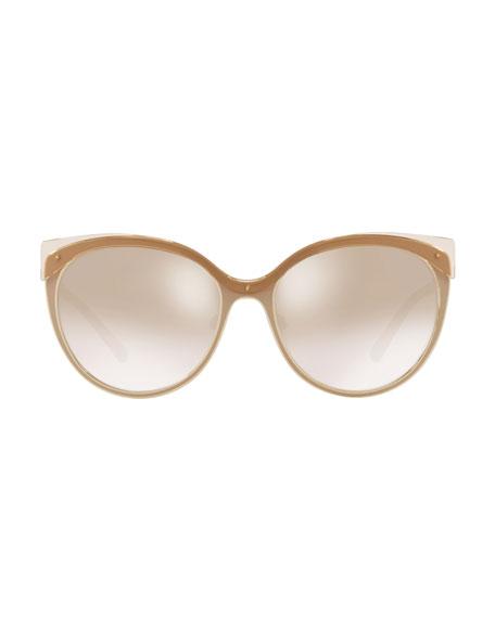 Mirrored Cat-Eye Metal Sunglasses