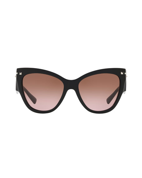 Cat-Eye Acetate Sunglasses w/ Rockstud Trim
