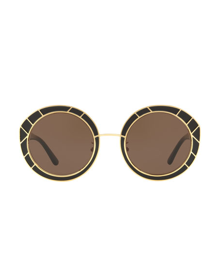 Round Double-T Metal Sunglasses