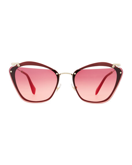 Flattop Cutout Gradient Butterfly Sunglasses