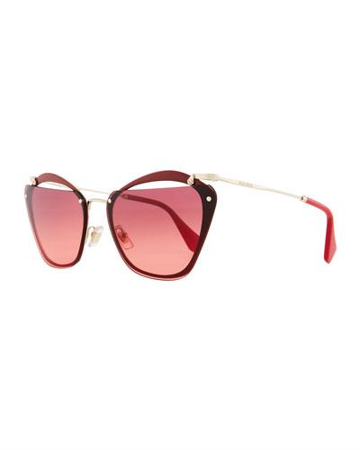 Flattop Cutout Gradient Butterfly Sunglasses