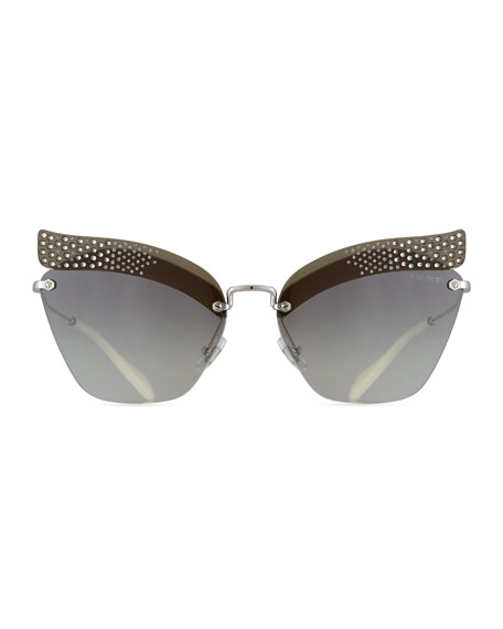Rimless Butterfly Metal Sunglasses with Gradient Mirror Lenses