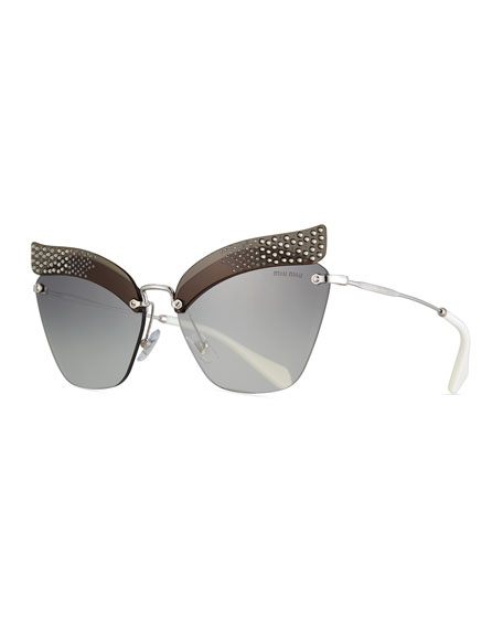 Miu Miu Rimless Butterfly Metal Sunglasses with Gradient