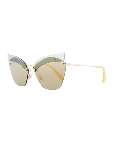 Miu Miu Rimless Butterfly Metal Sunglasses