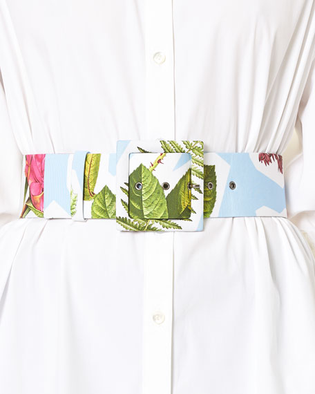 Floral Collage-Print Wide Belt