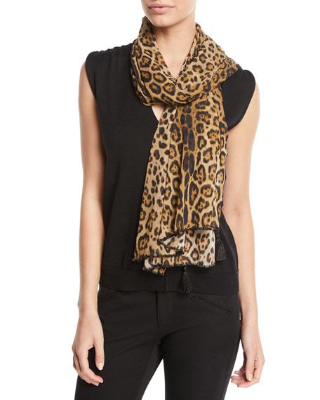 Leopard-Print Tulle Tasseled Scarf