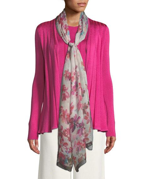 Brushstroke Floral-Print Silk Georgette Scarf