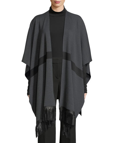 Milano Knit Striped Wrap w/ Leather Fringe