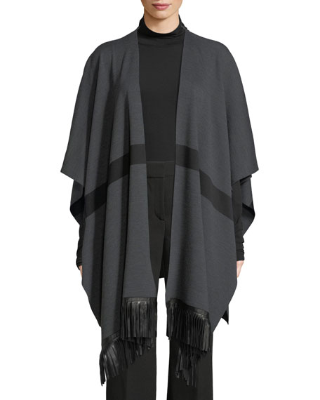 Milano Knit Striped Wrap w/ Leather Fringe