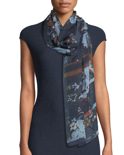 Painted Floral-Print Silk Scarf