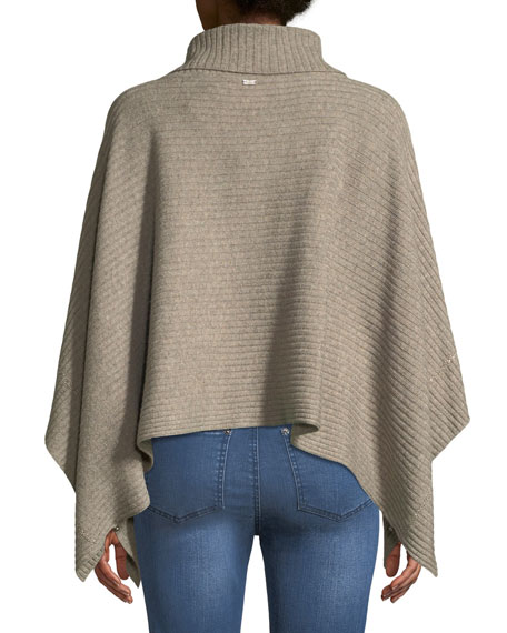 Cashmere Ribbed Cowl-Neck Poncho