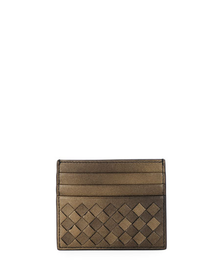 Bottega Veneta Intrecciato Metallic Leather Card Case