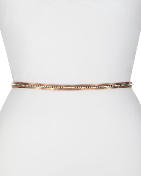 Metallic-Leather Skinny Belt with Crystalized Embellishments