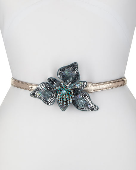 Skinny Leather Belt w/ Sequined Flower