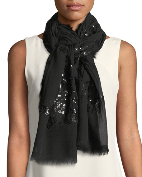 Willow Sequined Silk Scarf with Frayed Edges
