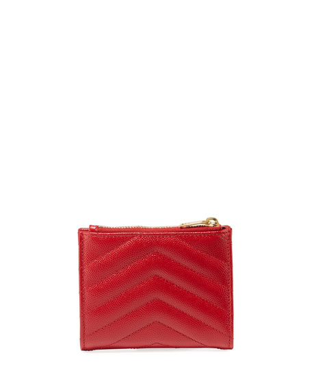 Monogram Quilted Grain Leather Zip Card Case