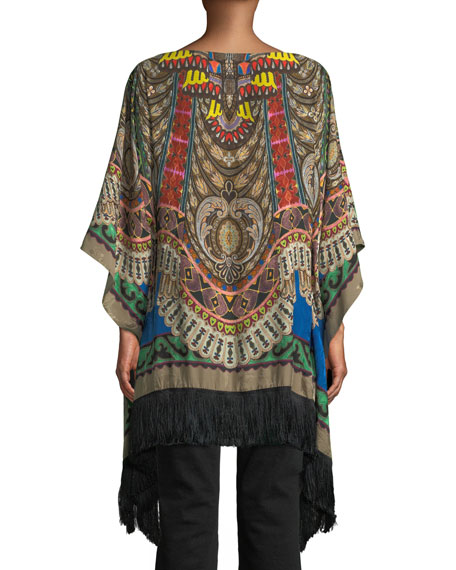 Boat-Neck Dream-Catcher Print Silk Tunic w/ Fringe