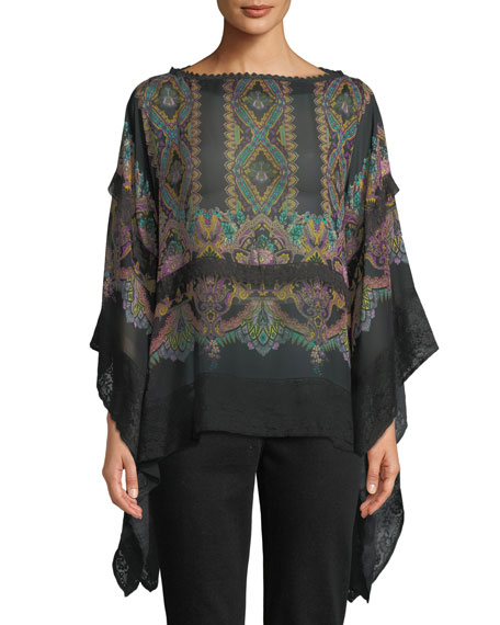 Boat-Neck Dream-Catcher Print Sheer Silk Poncho w/ Lace