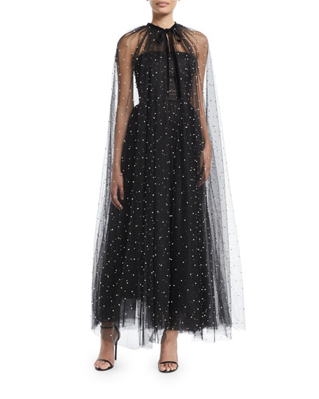 Pearl-Embellished Gathered Tulle Cape w/ Velvet Tie