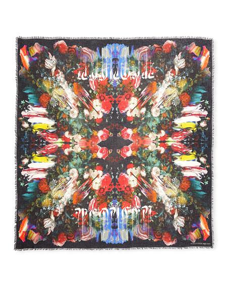 Drip Flower Modal-Wool Scarf