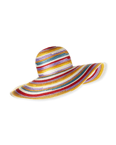 Big Striped Woven Floppy Sun Hat