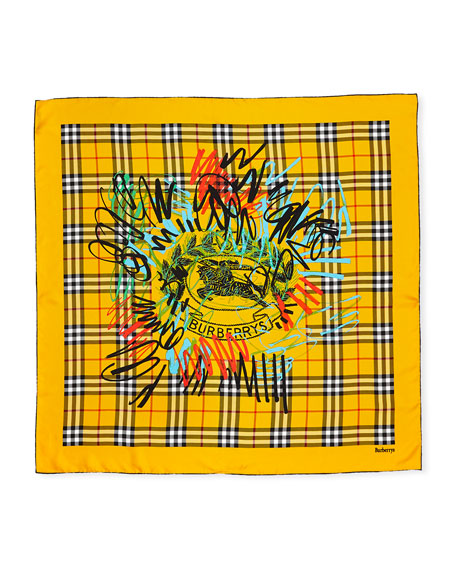 Graffitied Archive Crest & Check Square Silk Scarf