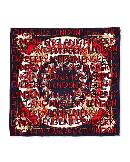 Graffiti Logo Square Silk Scarf