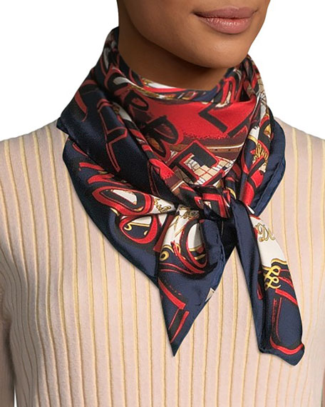 Burberry Graffiti Logo Square Silk Scarf