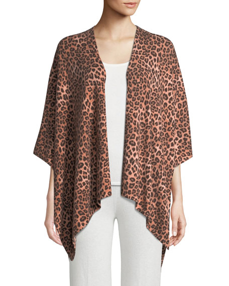 Neiman Marcus Cashmere Collection Cashmere Leopard-Print Shawl