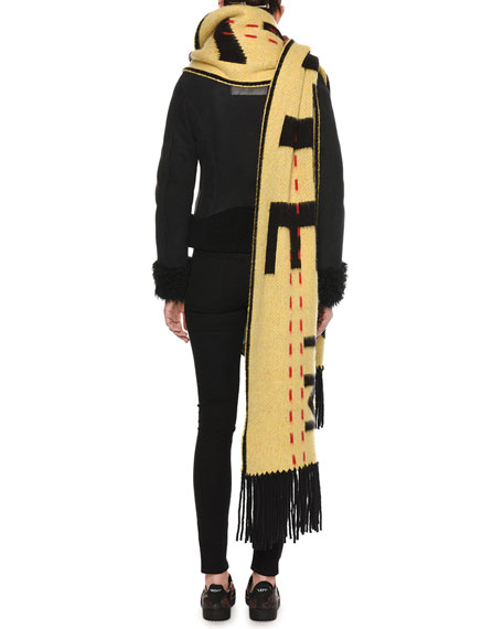 Logo-Intarsia Wool Knit Oversized Scarf