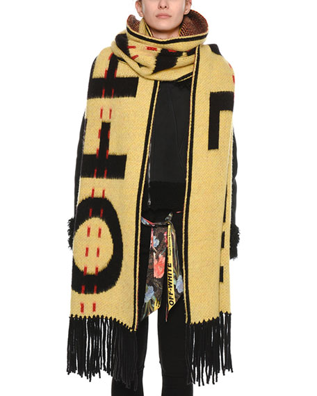 Logo-Intarsia Wool Knit Oversized Scarf, Yellow