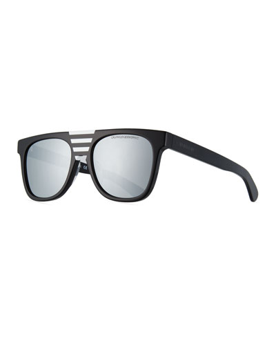 Flattop Acetate Mirrored Sunglasses w/ Contrast Striped Nose Bridge
