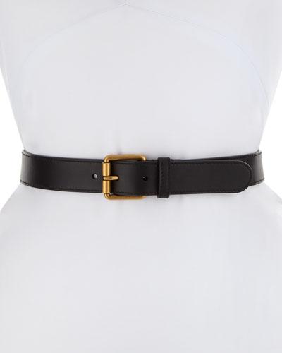 Leather Square-Buckle Horsebit Belt