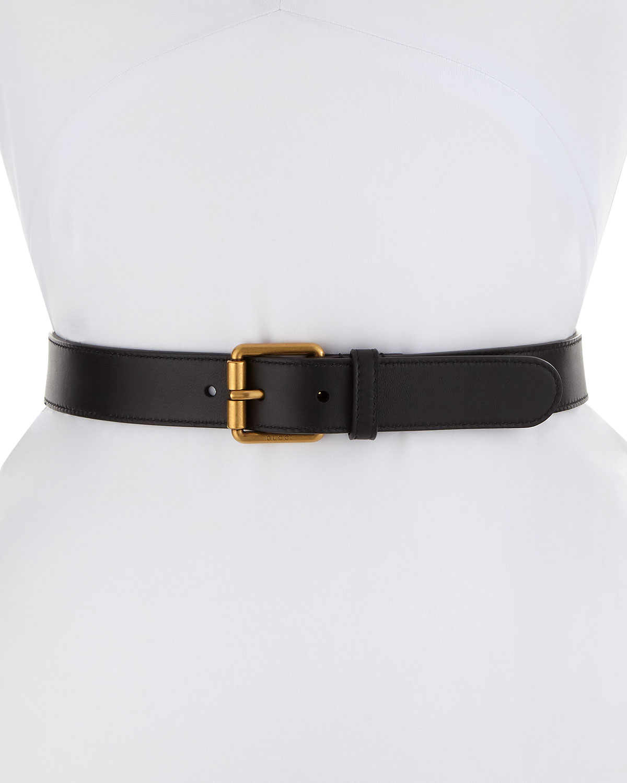 3e91fe8e509 Gucci Leather Square-Buckle Horsebit Belt