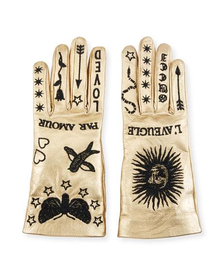 Melissa Metallic Leather Embroidered Gloves