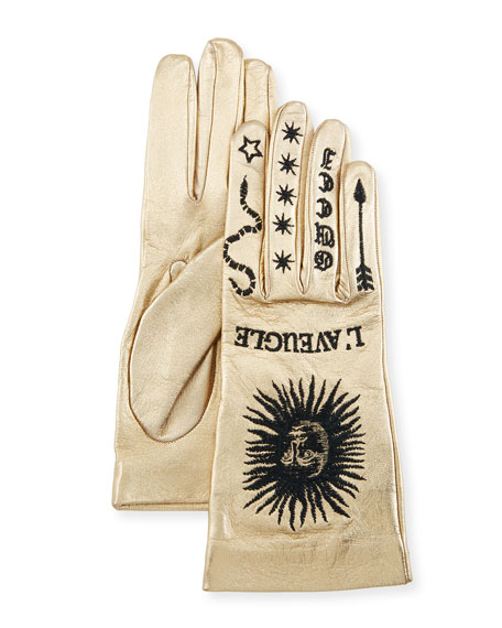 Gucci Melissa Metallic Leather Embroidered Gloves